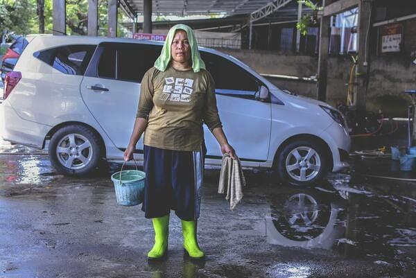 洗車をした人の画像