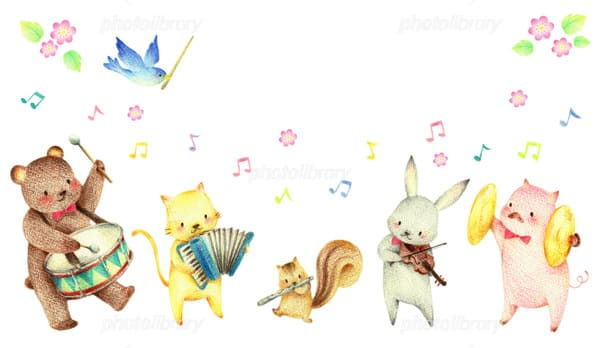 動物が楽器を弾くイラスト