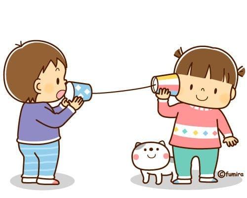 糸電話で遊ぶ子供のイラスト