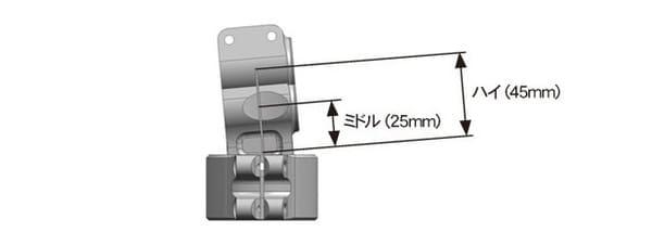 パイロットハンドルの高さが選べる説明の画像
