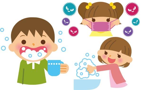 手洗いうがい、マスク着用をする子供のイラスト