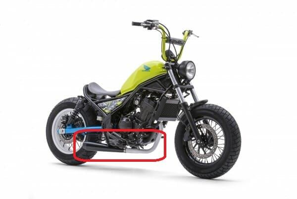 BMX風カスタムのマフラーを強調した画像
