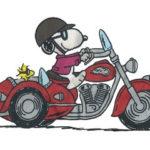 ヌーピーとバイクの画像