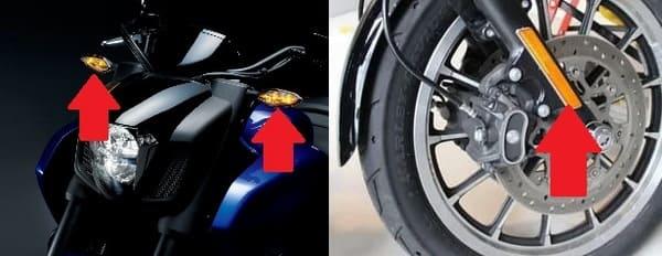 バイクの車幅灯とサイドリフレクターの画像