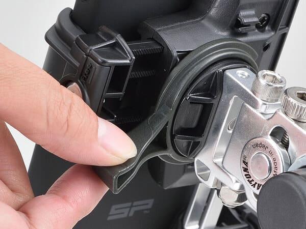 バイク用スマホホルダー3のロック機構説明画像