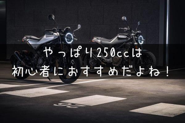 初心者には250ccがおすすめ!という画像